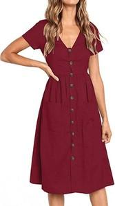 Czerwona sukienka Arilook szmizjerka z krótkim rękawem midi