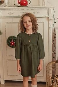 Zielona sukienka dziewczęca Petit Retro z bawełny