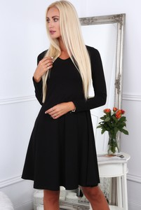 Czarna sukienka Fasardi w stylu klasycznym z okrągłym dekoltem midi