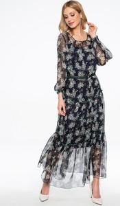 Sukienka Lavard trapezowa z okrągłym dekoltem z długim rękawem