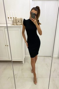 Czarna sukienka Shopaholics Dream z dzianiny z okrągłym dekoltem