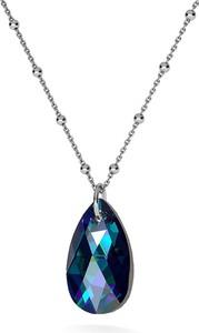 GIORRE Złocony naszyjnik z kryształem swarovskiego - migdał : Kolor kryształu SWAROVSKI - Crystal BBL, Kolor pokrycia srebra - Pokrycie Czarnym Rodem