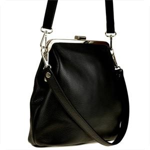 Czarna torebka GENUINE LEATHER na ramię w stylu glamour ze skóry