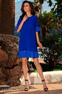 Niebieska sukienka TAGLESS z szyfonu z okrągłym dekoltem mini