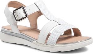 Sandały Geox z klamrami w stylu casual ze skóry ekologicznej