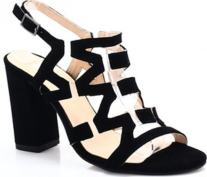 Czarne sandały Tymoteo na obcasie ze skóry z klamrami
