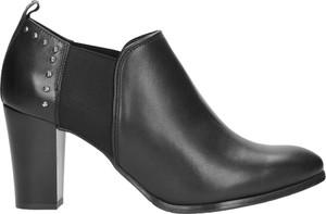 Czarne botki Wojas ze skóry w stylu casual