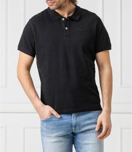 Czarna koszulka polo Pepe Jeans z krótkim rękawem z bawełny w stylu casual