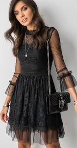 Czarna sukienka Fashion Manufacturer rozkloszowana z długim rękawem mini