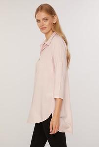 Różowa koszula FEMESTAGE Eva Minge w stylu casual z długim rękawem