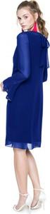 Niebieska sukienka L'AF z długim rękawem w stylu glamour z szyfonu
