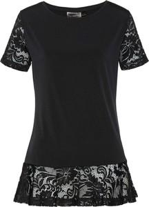 Czarna bluzka bonprix bpc selection z krótkim rękawem