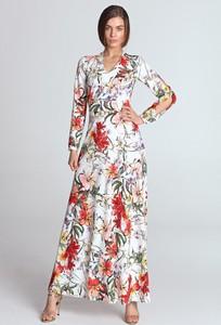 Sukienka Nife z długim rękawem rozkloszowana maxi