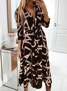 Czarna sukienka Arilook z długim rękawem szmizjerka midi