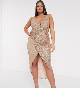 Złota sukienka Tfnc Plus na ramiączkach