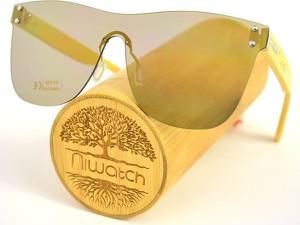 Drewniane okulary przeciwsłoneczne Niwatch Pavo Silver Mirror