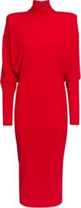 Czerwona sukienka Alexandre Vauthier midi z długim rękawem z golfem