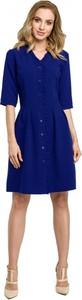 Niebieska sukienka MOE z długim rękawem z dekoltem w kształcie litery v z wełny