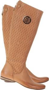 Brązowe kozaki Lafemmeshoes z płaską podeszwą przed kolano w stylu casual