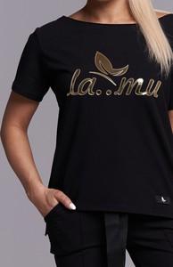 Czarna bluzka Ella Boutique z okrągłym dekoltem w stylu casual