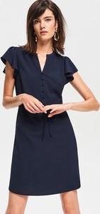 Granatowa sukienka Reserved z krótkim rękawem w stylu klasycznym dopasowana