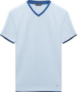 Niebieski t-shirt Borgio w stylu casual z krótkim rękawem
