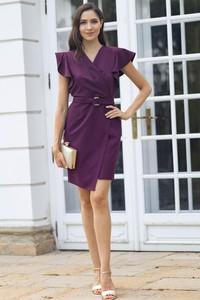 Sukienka Maravilla Boutique z krótkim rękawem z dekoltem w kształcie litery v midi