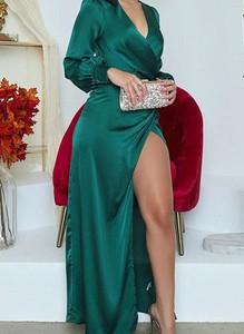 Zielona sukienka Arilook z długim rękawem z dekoltem w kształcie litery v maxi