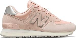 Różowe buty sportowe New Balance z płaską podeszwą z zamszu