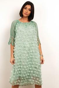 Zielona sukienka Plus Size Fashion z okrągłym dekoltem z długim rękawem