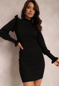 Czarna sukienka Renee z dzianiny mini w stylu casual