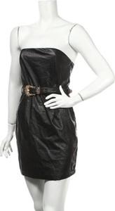 Czarna sukienka Misspap mini gorsetowa ze skóry
