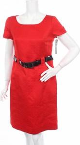 Czerwona sukienka Tahari By Arthur S. Levine z okrągłym dekoltem