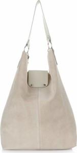 Torebki skórzane typu shopperbag firmy vittoria gotti beżowe