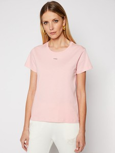 Różowy t-shirt Pinko z okrągłym dekoltem z krótkim rękawem w stylu casual