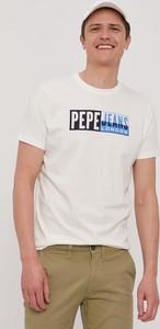 T-shirt Pepe Jeans z dzianiny z krótkim rękawem w młodzieżowym stylu