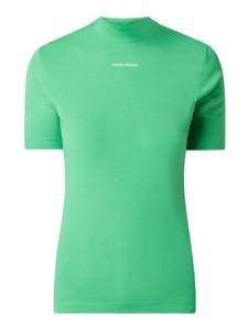 Zielony t-shirt Calvin Klein z okrągłym dekoltem z krótkim rękawem z bawełny