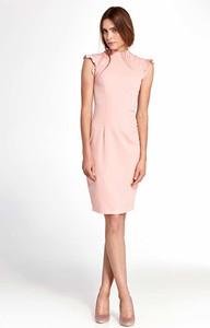 Różowa sukienka Nife dopasowana midi
