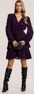 Granatowa sukienka Renee mini z długim rękawem