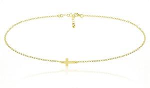 Lian Art Srebrny naszyjnik z krzyżykiem - 2MR 24k złocenie
