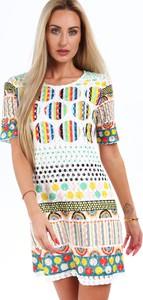 Sukienka Fasardi mini z krótkim rękawem z okrągłym dekoltem