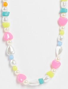 Reclaimed Vintage Inspired – Naszyjnik unisex z kolorowymi koralikami i sztucznymi perłami-Wielokolorowy