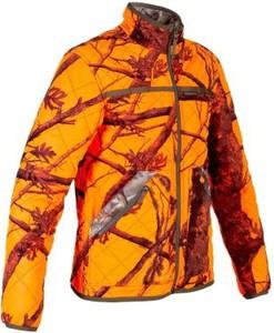 Pomarańczowa kurtka Solognac w militarnym stylu