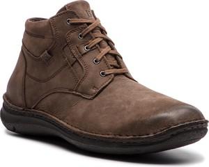 Brązowe buty zimowe Josef Seibel z nubuku w stylu casual sznurowane