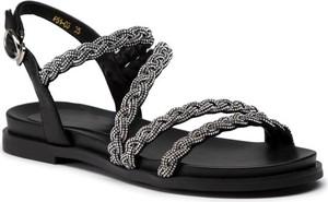 Czarne sandały Eva Minge z płaską podeszwą