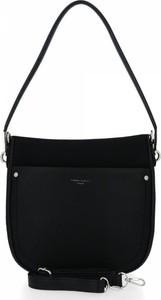 Czarna torebka David Jones w stylu glamour na ramię