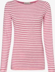 Różowy t-shirt Marc O'Polo z długim rękawem z bawełny z dekoltem w łódkę