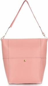 Różowa torebka GENUINE LEATHER na ramię z kolorowym paskiem
