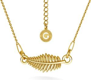 GIORRE SREBRNY NASZYJNIK CELEBRYTKA LIŚĆ 925 : Kolor pokrycia srebra - Pokrycie Żółtym 24K Złotem