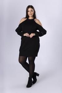 Czarna sukienka Ptakmoda.com mini z dresówki z długim rękawem